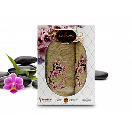 Полотенца Yagmur Комплект полотенец Yagmur SAKURA GARDEN Cotton в коробке (50*90; 70*140), зеленый цена