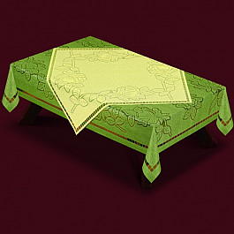 Скатерть с накладкой №46370-130, зеленая, салатовая