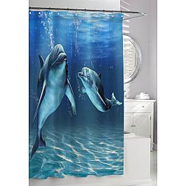 """Штора для ванной """"Дельфины"""", фотопечать"""