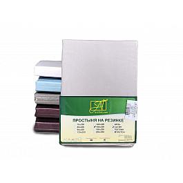 Простыни Alvitek Простынь сатин на резинке, жемчужно-серый, 180*200*25 см цена