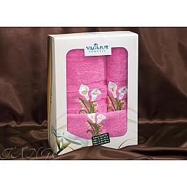 Полотенца Yagmur Комплект полотенец Yagmur ZAMBAK (Кала) Cotton в коробке (30*50; 50*90; 70*140), фуксия цена