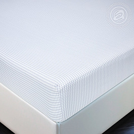 Простыни Арт-постель Простынь трикотажная на резинке Клетка, серый, 180*200 цена