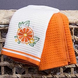 Полотенца Arya Набор кухонных полотенец Arya Summer Buket (Апельсин), экрю, оранжевый, 40*60 см - 2 шт набор кухонных полотенец atlas plus гжель 40 60 см 2 предмета