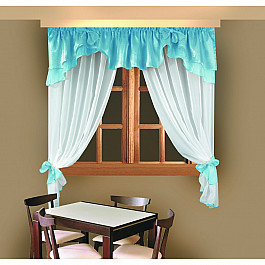 Комплект штор для кухни №Б029-1, голубой Wisan