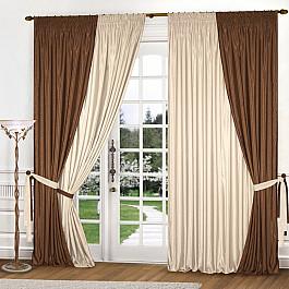 Шторы для комнаты Blackout Комплект штор К309-2, коричневый, светло-бежевый, 180*250 см цена и фото