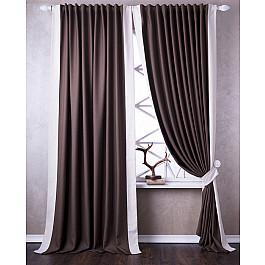 Шторы для комнаты Белошвейка Комплект штор Нова, коричневый, 170*270 см