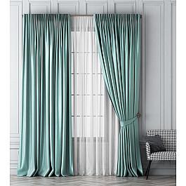 Шторы для комнаты Белошвейка Комплект штор Шанти, светло-бирюзовый, 170*270 см цена 2017