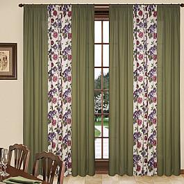 Шторы для комнаты Blackout Комплект штор C450-4, сиреневые цветы, 260*260 см