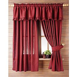 Комплект штор Лайнен, красный, 130*170 см Белошвейка