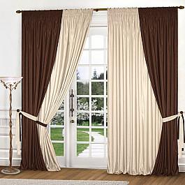 Шторы для комнаты Blackout Комплект штор К309-1, темно-коричневый, светло-бежевый, 180*260 см цена и фото