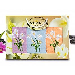 Полотенца Yagmur Комплект полотенец Yagmur Кала (30*50 - 3 шт), Голубой, Лиловый, Персиковый цена