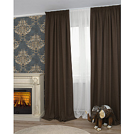 Шторы для комнаты Дельфа Шторы Icaro-86, коричневый (marron), 180*270 см недорго, оригинальная цена