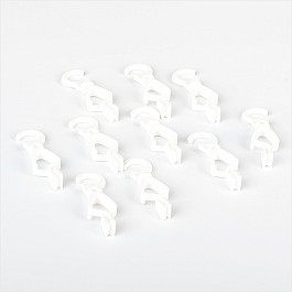 Крючки ШтораНаДом Комплект крючков с зажимом для металлического карниза под дерево, белый просекатель для металлического профиля под гипсокартон matrix работа одной рукой