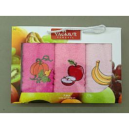 Наборы полотенец для кухни Yagmur Комплект кухонных полотенец Yagmur Фрукты, 30*50 см - 3 шт, розовый цена