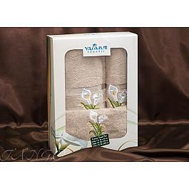 Полотенца Yagmur Комплект полотенец Yagmur ZAMBAK (Кала) Cotton в коробке (30*50; 50*90; 70*140), бежевый цена