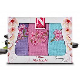 Наборы полотенец для кухни Nilteks Набор кухонных полотенец Nilteks Dia Bella Italiano в коробке, 50*70 см - 3 шт, сиреневый, розовый, голубой