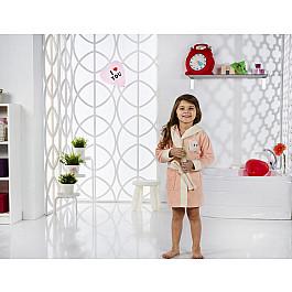 Халат махровый Karna Халат детский велюр KARNA SNOP, на 6-7 лет, абрикосовый детские халаты luxberry детский халат совята цвет жемчужный коричневый белый 7 8 лет