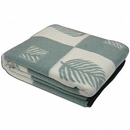 "Одеяло шерстяное ""Лист"", белый, олива, 200*220 см"