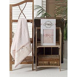 Полотенце Бамбук c гипюром Diana в коробке, персиковый, 50*90 см