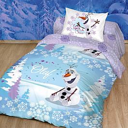 Постельное белье Disney КПБ Холодное Сердце. Олаф Зима с наволочкой 50*70 (1.5 спальный), голубой, сиреневый disney 50 70 1153157
