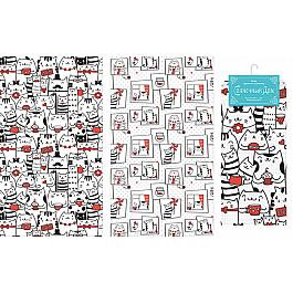 Наборы полотенец для кухни Солнечный дом Набор вафельных полотенец Коты, 40*70 см - 2 шт набор полотенец для кухни bonita набор из 2 полотенец для кухни фрукты овощи