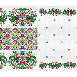 Наборы полотенец для кухни Солнечный дом Набор вафельных полотенец Петухи, 40*70 см - 2 шт набор полотенец для кухни bonita набор из 2 полотенец для кухни фрукты овощи