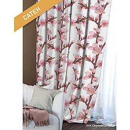 Шторы для комнаты Волшебная ночь Шторы Этно Сатен Сherry Blossoms, белый, розовый цены