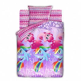 цена Постельное белье Непоседа КПБ 1.5 бязь My Little Pony (70х70) рис. 8918-1/8919-1 Подводные пони онлайн в 2017 году