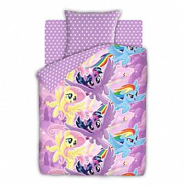цена Постельное белье Непоседа КПБ 1.5 бязь My Little Pony (70х70) рис. 8920-1/8921-1 Небесные пони онлайн в 2017 году