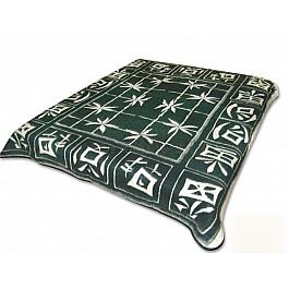 """Одеяло шерстяное """"Бамбук"""", бело-зеленый, 200*220 см"""