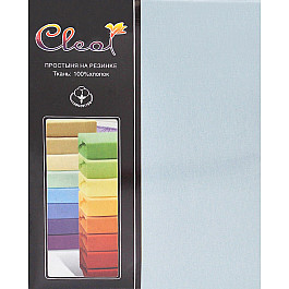 Простыни Cleo Простынь трикотажная на резинке голубая, 160*200*25 см
