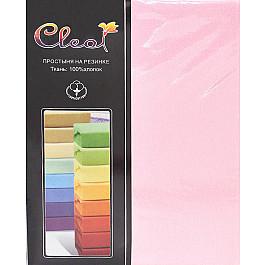 Простыни Cleo Простынь трикотажная на резинке светло-розовая, 180*200*25 см цена