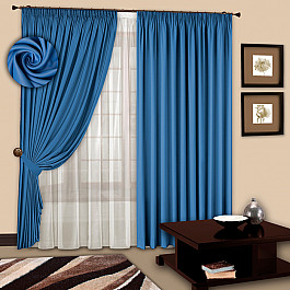 цена Шторы для комнаты РеалТекс Комплект штор №107 Небесно-голубой онлайн в 2017 году
