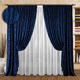 цена Шторы для комнаты РеалТекс Комплект штор №126 Синий онлайн в 2017 году