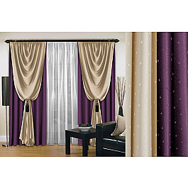 Шторы для комнаты РеалТекс Комплект штор №128, фиолетовый, 250 см комплект oldos 003дн черный фиолетовый р 128