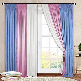 Шторы для комнаты РеалТекс Комплект штор №029 Белый, Розовый, Голубой крестильный комплект арго 029 б