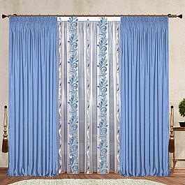 цена Шторы для комнаты РеалТекс Комплект штор №124 Небесно-голубой онлайн в 2017 году