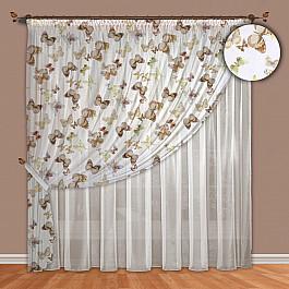 Шторы для комнаты РеалТекс Комплект штор №089 Бабочки (шоколадный) цена 2017