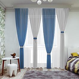 Шторы для комнаты РеалТекс Комплект штор №065, синий, серый