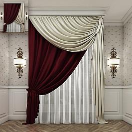 Шторы для комнаты РеалТекс Комплект штор №135, бургунд, бежевый цена