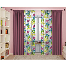 Шторы для комнаты РеалТекс Комплект штор №130 Бабочки, брусника шторы реалтекс классические шторы neville цвет брусника