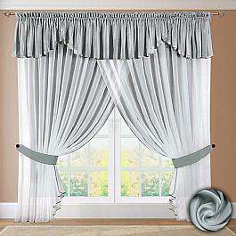 Шторы для кухни РеалТекс Шторы №052 Светло-серый шторы реалтекс классические шторы neville цвет брусника