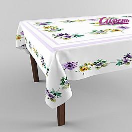 """Скатерть 3D """"Фиолетовые цветы"""", бело-фиолетовая"""