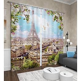 Фотоштора Сирень Фотошторы сатен Парижское небо фотоштора сирень фотошторы сатен чудесное радостное сияющее