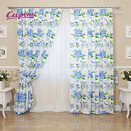 Шторы для комнаты Сирень Комплект штор Глозерис, голубой, 260 см комплект штор witerra тергалет 10709 голубой 140 260 см