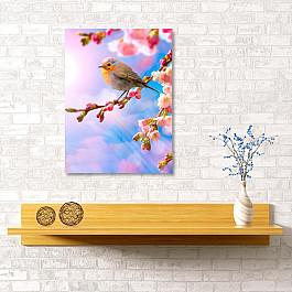 Сирень Картина  Птица на ветке, 40*60 см квикдекор картина на холсте танцы фей и эльфов 60 см х 40 см