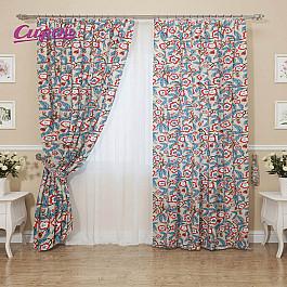 Шторы для комнаты Сирень Комплект штор Орнамент из лепестков, голубой, красный, 260 см для презентации цветок с надписями из семи лепестков