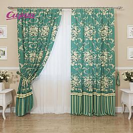 Шторы для комнаты Сирень Комплект штор Рофлиит, бирюзовый, 260 см цена