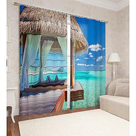 Фотоштора Сирень Фотошторы сатен Рай на островах рай