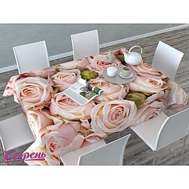 Скатерти Сирень Скатерть 3D Молодые розы, розовая-A скатерть quelle эго 1024295 120х150